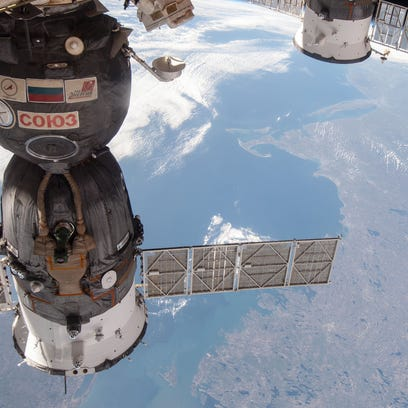 ISS Progress 47 is shown docked at the International