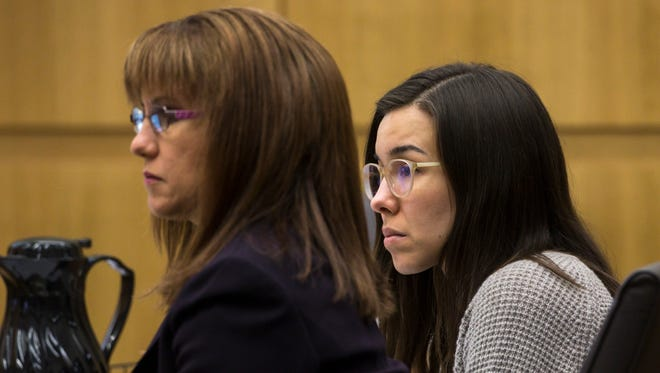 Defense attorney Jennifer Willmott, left,) and Jodi Arias listen to final arguments during the sentencing phase of her retrial at Maricopa County Superior Court, Tuesday, Feb. 24, 2015 in Phoenix.