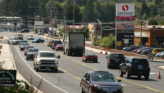 Traffic moves along Highway 3 in Belfair on Tuesday, August 15, 2017.