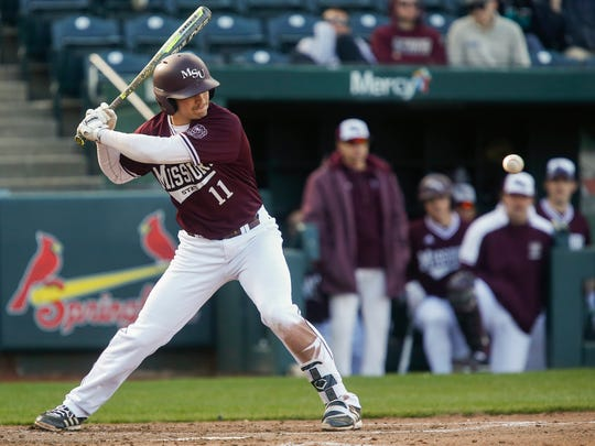 Jeremy Eierman, of Missouri State, watches the ball as the Bears took on Oklahoma State in their 2018 home opener at Hammons Field on Wednesday, March 7, 2018.
