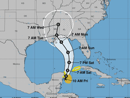 The projected path of Subtropical Storm Alberto.