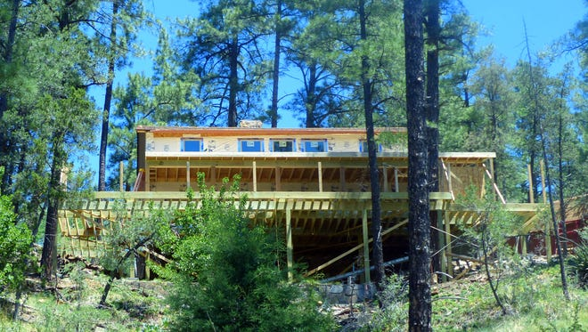 A new deck was added to this home.
