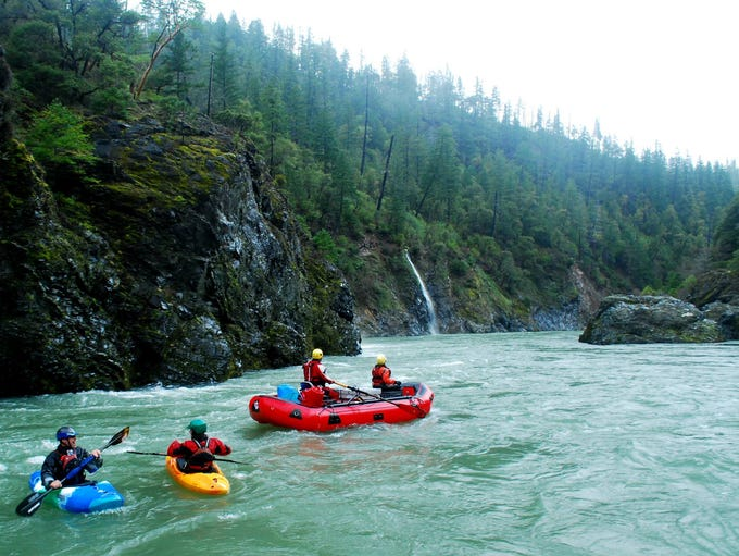 A group of rafters on Southern Oregon's Illinois River.