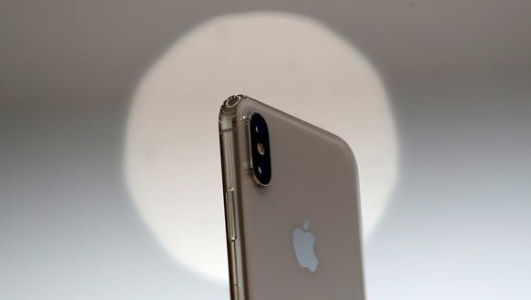 The new iPhone X is displayed during an Apple special