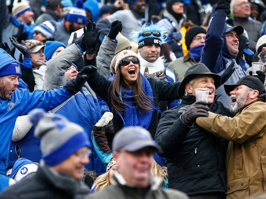 Memphis fans cheer during action against Iowa State at the AutoZone Liberty Bowl in Memphis, Tenn., Saturday, December 30, 2017.