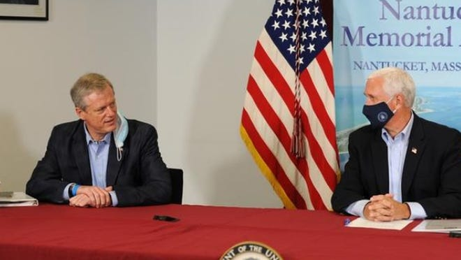 Gov. Charlie Baker and Vice President Mike Pence meet on Nantucket on Saturday.