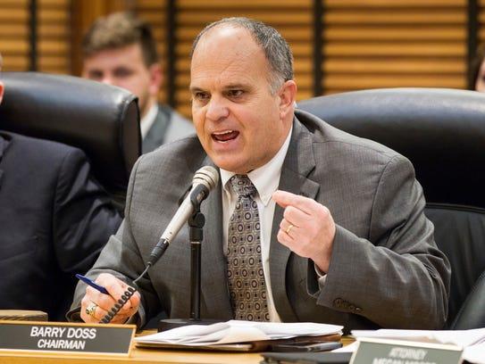 House Transportation Chairman Barry Doss argues against