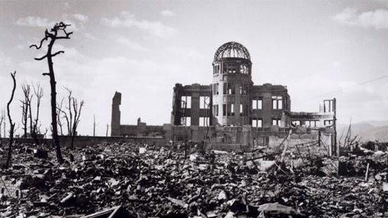 The atomic bomb left destroyed the Japanese city of Hiroshima.