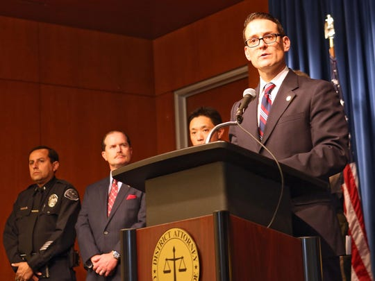 Riverside County District Attorney Mike Hestrin speaks at a press conference on February 17, 2015.