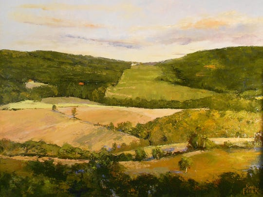 """""""View of the Valley"""" by Kari Feuer is painted with a a palette knife."""