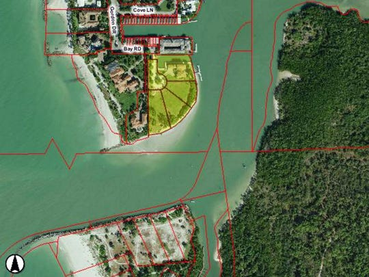 A map showing the Donahue properties on Keewaydin Island and across Gordon Pass.