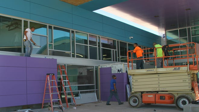 Construction workers continue building Desert Willow Elementary. Bradbury Stamm Construction has been working on the project for about a year. The school including Ocotillo is expected to be complete before the start of the 2016-2017 academic year.