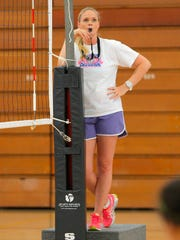 Hartnell College volleyball coach Jamie Pedroza during practice on campus Wednesday.