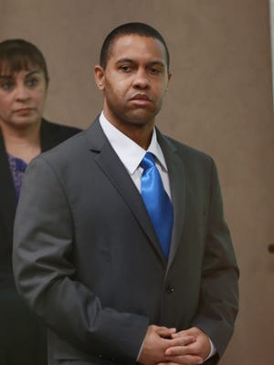 Daniel Sanders, 39, stands during his trial.