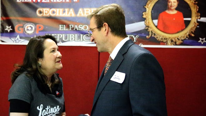 Texas first lady Cecilia Abbott greets Jeffrey Lane of El Paso during a stop Tuesday at the Republican Party of El Paso headquarters at 6006 N. Mesa St. Abbott spoke briefly, thanking volunteers for their efforts and posing for photos.