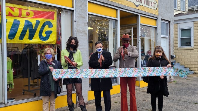 Pictured, from left: Chamber of Commerce Director Joan Ford Mongeau, Manager Gabrielle Boyce, Mayor Gary Christenson, Great Eastern Vintage owner Nephtaliem McCrary and Marlene Clauss, former owner of Great Eastern Trading Co. in Cambridge.