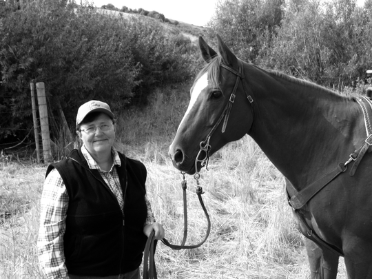 Betty Hedstrom with her horse, Freckles, 2005.