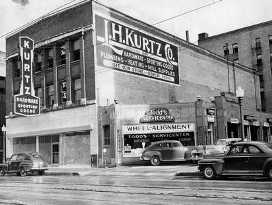 Kurtz Hardware, which opened in 1866, is shown in 1948