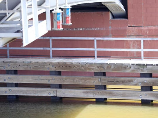 A close-up of the pilings protecting Green Bay's Ray