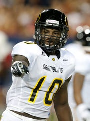 Grambling State WR Chad Williams lines up against the