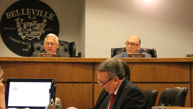 Belleville Mayor Raymond Kimble, left, next to Township Councilman John Notari at the council's Jan. 24, 2017 meeting. Township Manager Mauro Tucci sits in the foreground.