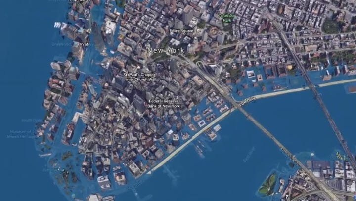 Earth's oceans could rise over 6 feet by 2100 as polar ice melts, swamping coastal cities such as NYC