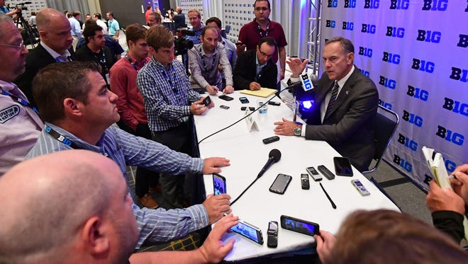 Michigan State head coach Mark Dantonio addresses the media Monday afternoon during the Big Ten football media day at Hyatt Regency McCormick Place in Chicago.