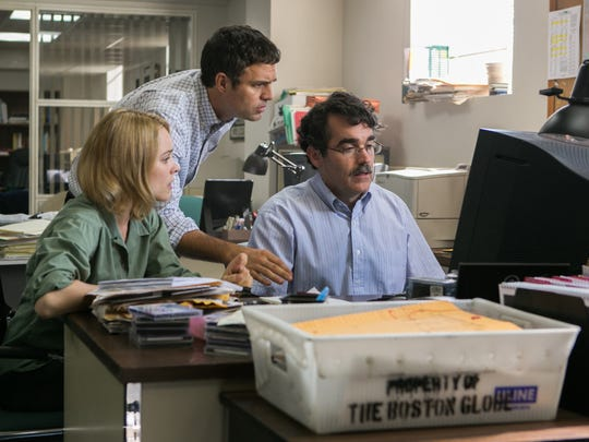 (Left to right)  Rachel McAdams as Sacha Pfeiffer, Mark Ruffalo as Michael Rezendes and Brian d'Arcy James as Matt Carroll  in 'Spotlight.'