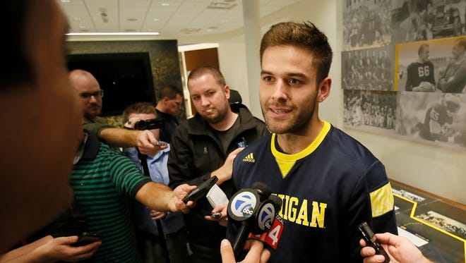 Michigan punter Blake O'Neill answered questions from the media during aviallability at Schembechler Hall after their practice on October 20, 2015, in Ann Arbor.