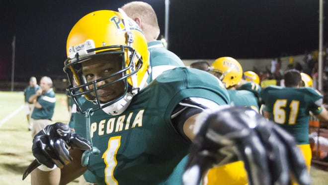 Peoria's Kahliq Muhammad had 36 catches for 597 yards and six touchdowns last season.