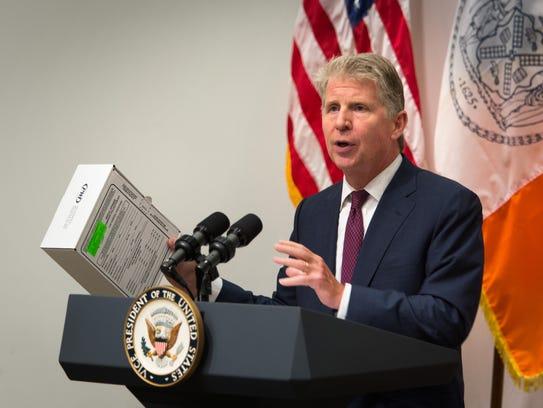 Manhattan District Attorney Cyrus Vance shows a sexual