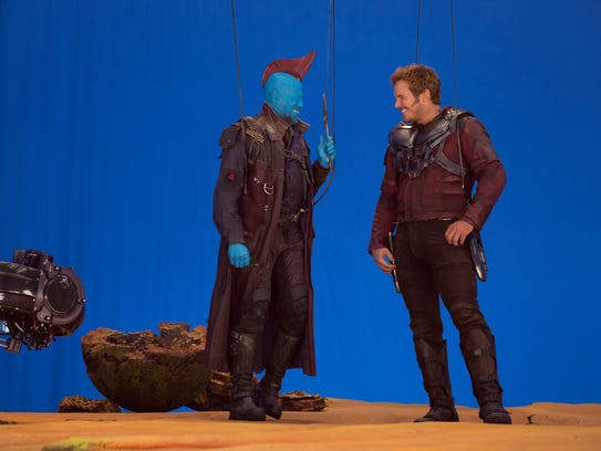 Michael Rooker and Chris Pratt go over a scene on the
