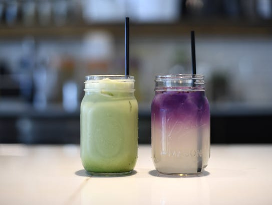 Iced sparkling matcha, left, and yuzo lemonade with
