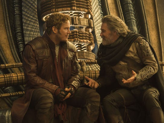 Star-Lord (Chris Pratt, left) meets his dad Ego (Kurt