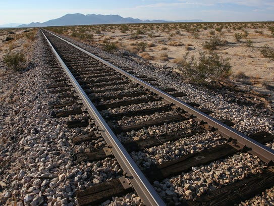 Cadiz Inc. proposes to build a water pipeline alongside this railroad in the Mojave Desert.