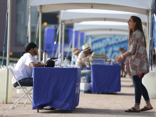 A contestant auditions during the American Idol auditions