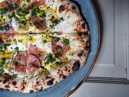 The Nine Seven-3 pizza, with Taylor Ham, provolone,
