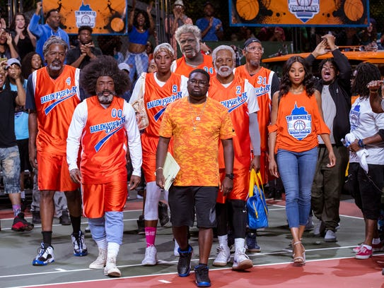 Dax (center, Lil Rel Howery) leads an aging group of