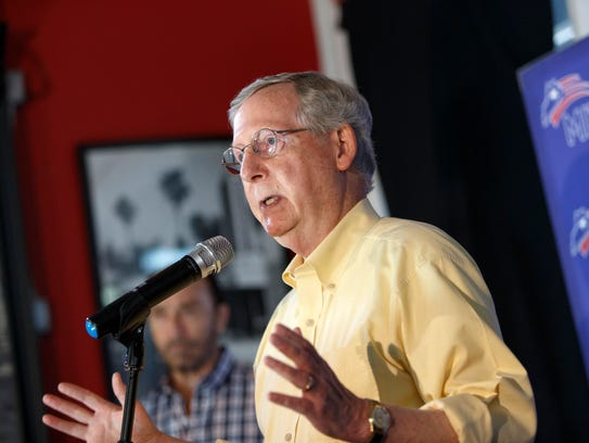 Senate Minority Leader Mitch McConnell R-Ky., faces