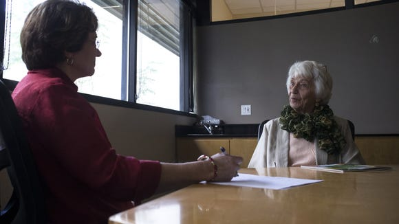 Lenore Gaudin (right) is interviewed by volunteer Sally Johnson, January 9, 2017, during Lenore's annual aging study interview at the Banner Sun Health Research Institute in Sun City. Gaudin is part of Banner's long-term study on longevity.
