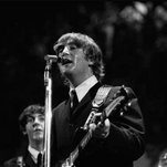 John Lennon and Paul McCartney perform during a concert in Cincinnati in 1964.