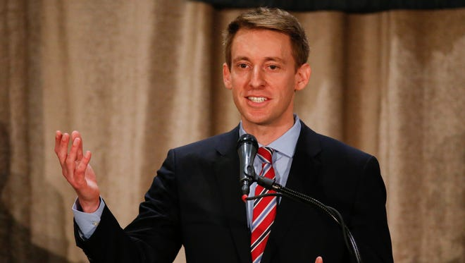 Jason Kander speaks during the Missouri Press Association Candidate Forum on Friday, September 30, 2016 at the Chateau on the Lake Resort in Branson.