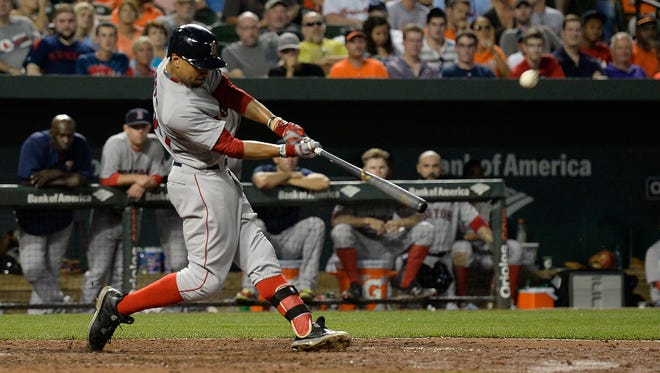 Mookie Betts homered twice and drove in five runs against the Orioles.