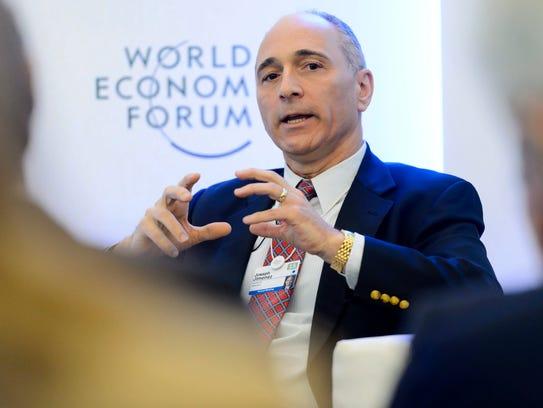 Novartis CEO Joseph Jimenez speaks at the World Economic Forum in 2015.