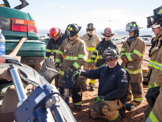 Firefighters from around the country train at the Ridgetop Complex Saturday, Jan. 9, 2016.