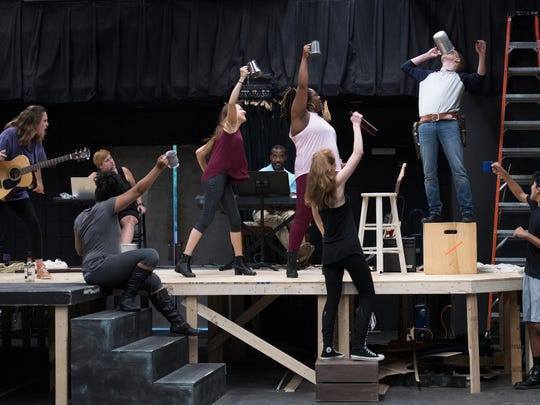 Cast members rehearse a scene from Bloody Bloody Andrew Jackson at Warehouse Theatre on Tuesday, May 22, 2018.