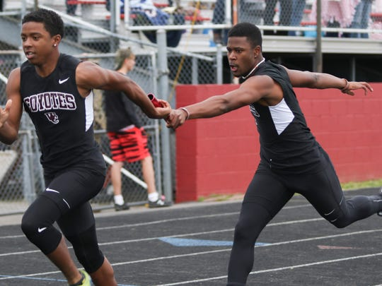 The West Creek boys' 4x200 meter relay team competes