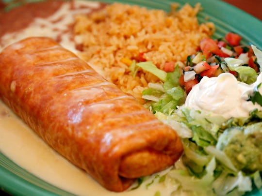 Chicken chimichanga from Los Laureles Tuesday, Oct. 28, 2014.