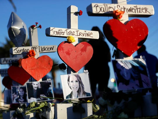 Crosses for victims of the Oct. 1 mass shooting are