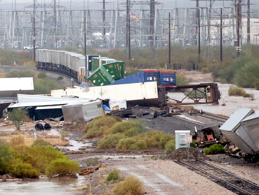 Train derailment in Tucson